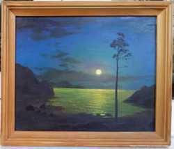 """Картина, масло """"Луна над морским заливом"""". Огурцов А. 1997 г."""