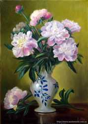 картина маслом натюрморт с пионами
