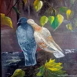 Картина маслом Голуби и любовь