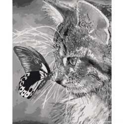 "Картина по номерам. ""Котёнок и бабочка"" 40*50см KHO2499"
