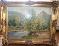 Картина Лес с рекой (Германия, Мюнхенская школа), 1940