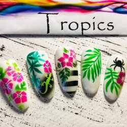 Трафарет для аэрографии на ногтях Тропики