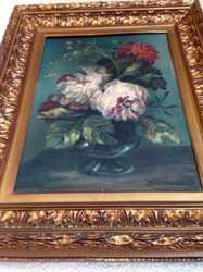 Авторская работа натюрморт Пионы. довоенная. 58 см.х48 см. рама Италия