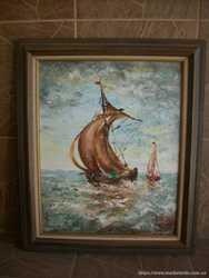 Картина мальована Вітрильник в морі (4201)