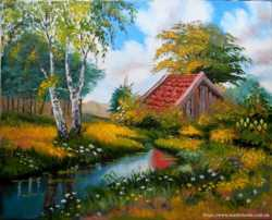 "Картина ""Лесной пейзаж"", холст, масло, 40х50 см."