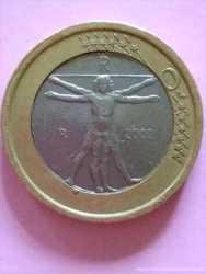 РЕДКИЙ БРАК 1 евро, Италия, 2002 г.