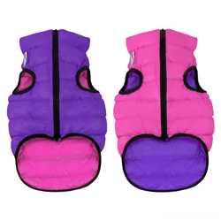 Двусторонняя курточка для собак Airy Vest cалатово-голубая M47, розово