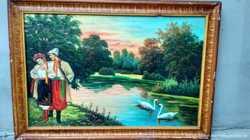 Картина маслом, українського художника- Ввечері над річкою- 1970 р