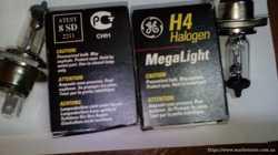 Лампы (пара) д/фар H4 MegaLight 12V 60/55 Watt P43t-38 General Electric