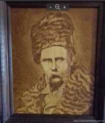 Продам портрет Т.Шевченко выжженый на дереве.