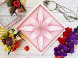 Стринг арт цветок, сакральная геометрия, розовый цветок картина, декор