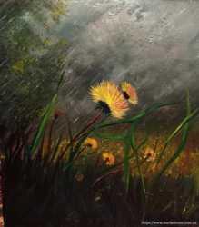 Картина одуванчик весна гроза