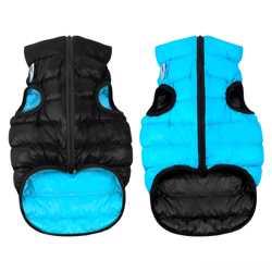Двусторонняя курточка для собак Airy Vest cалатово-голубая M47, черно-