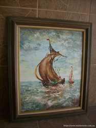 Картина мальована Вітрильник в морі (4201) 2