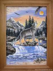 """Продам картину на бересте """"Волк"""" 15х21 см."""