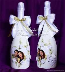 Свадебная бутылка, декор шампанского для молодожен, свадебное шампанское 1
