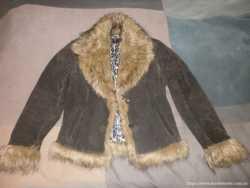 Куртка женская, кожа, натуральный мех