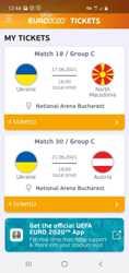 Квитки на ЄВРО 2020,збірна України,2 матчі 17 і 21.06.21