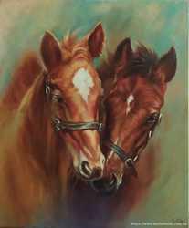 картина маслом Пара лошадей