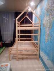 двухъярусная кровать- домик из натурального дерева 4500 3