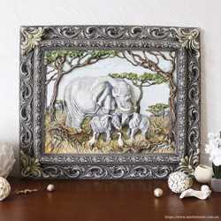 Панно картина объемная Семья слонов