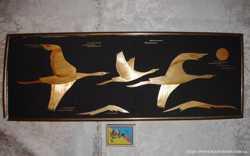 """Картина-панно настінне, соломка, """"Перелет птиц"""", 1982 р.в., 44х15,5 см"""