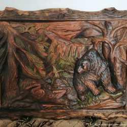 Резная картина Медвежья охота