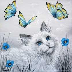 "Продам картину ""Кот с бабочками"", холст, масло, 20х20 см."