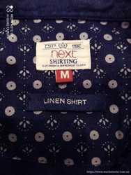 Рубашка Next. Новая Лен 100%. Индиго-темно синий. Размер М 3