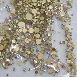 Набор камней сваровски разного размер Золотая Подложка S3-SS12 стекло