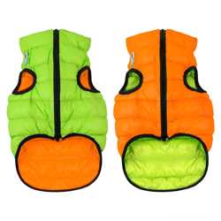 Двусторонняя курточка для собак Airy Vest cалатово-голубая M45, оранже