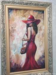 Картина маслом;девушка в шляпе, размер полотна 30х50см