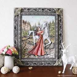 Картина объемная Девушка с лошадью