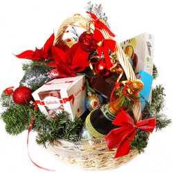 Новогодние корзины для поздравления партнеров.Подарок на Новый год-корзина с фруктами и шампанским 1