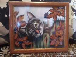 Картина бисером (Кот на заборе)