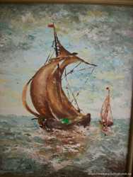 Картина мальована Вітрильник в морі (4201) 3
