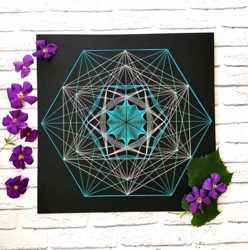 Стринг арт Кристалл, сакральная геометрия, черный декор, бирюза панно