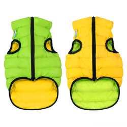 Двусторонняя курточка для собак Airy Vest cалатово-голубая M47, желто-
