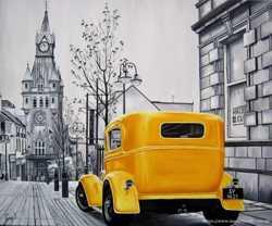 "Продам картину ""Жёлтый автомобиль"", холст, масло, 50х60 см"