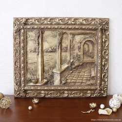 Картина объёмная Итальянский дворик в бронзе