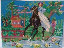 картина всадница вышивка