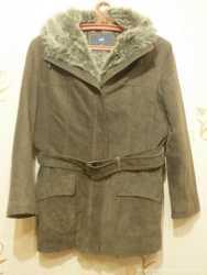 Куртка женская, натуральная кожа, с меховым капюшоном