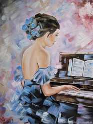 "Продам картину ""Пианистка"", холст, масло, 30х40 см"