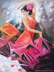 "Продам картину ""Танцующая девушка"", холст, масло, 30х40 см"