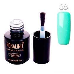 Гель-лак для ногтей маникюра 7мл Rosalind, шеллак, 38 светло-бирюзовый