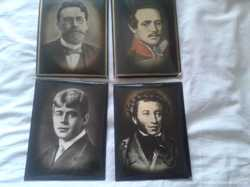 4 портрета: Пушкин, Чехов, Лермонтов и Есенин