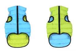 Двусторонняя курточка для собак Airy Vest cалатово-голубая M47, cалато