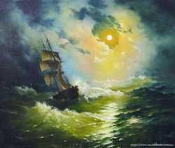 картина маслом,морской пейзаж