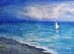 """Картина гуашью """"Морской пейзаж"""""""