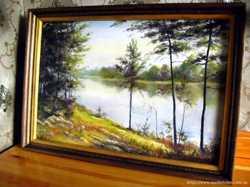 Картина Тихая река. Холст, масло. 60х40 в раме! (На заказ)